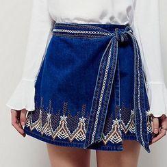 JOYIST - 刺繡繫帶牛仔段裙