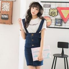Mossivi - Button-front Denim Jumper Skirt / Striped T-Shirt