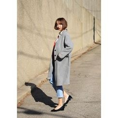 ssongbyssong - Single-Breasted Wool Blend Coat