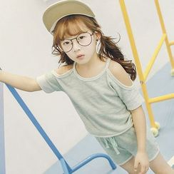 Lemony dudu - Kids Set: Short-Sleeve Shoulder Cut Out Top + Shorts