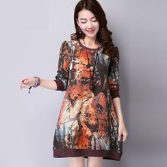 Diosa - Printed Long Sleeve Dress