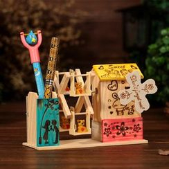 INTI - Wooden Ferris Wheel Music Box with Pen Holder