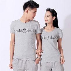 Matcha House - Couple Matching Print Short-Sleeve T-Shirt / Shorts