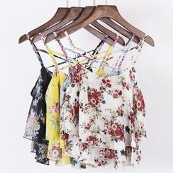 City of Dawn - Floral Print Spaghetti Strap Layered Top