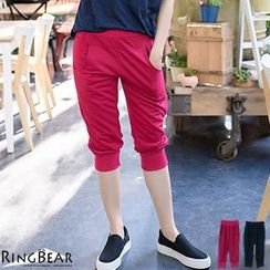 RingBear - 輕鬆休閒運動女孩腰頭褲管羅紋雙口袋運動七分褲