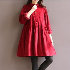 Snow Flower - Long-Sleeve Corduroy Dress