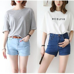 Denimot - High Waist Denim Shorts