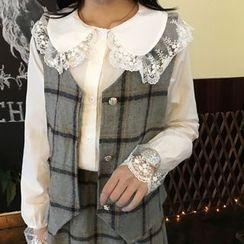 Eva Fashion - 套装: 蕾丝边衬衫 + 格纹马甲 + 格纹A字裙