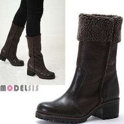MODELSIS - Genuine Leather Fleece-Line Boots