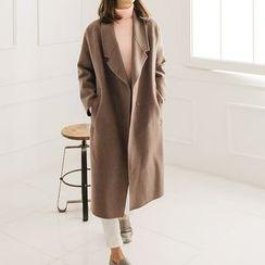Seoul Fashion - Notched-Lapel Hidden-Button Coat