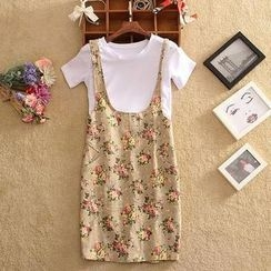 SIDO FASHION - Set: Short-Sleeve T-Shirt + Floral Jumper Skirt