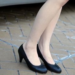 59th Street - Croc-Grain Shirred Pumps