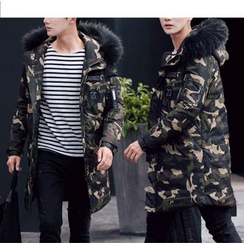 Bay Go Mall - Furry Trim Camo Down Coat