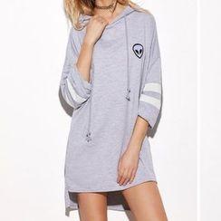 Katie Bloom - Long-Sleeve Hooded T-Shirt Dress