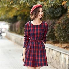 Romantica - Long-Sleeve Belted Plaid Dress