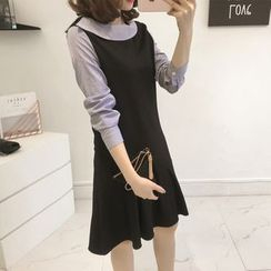 Little V - Long-Sleeve Mock Two Piece A-line Dress