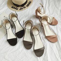 QQ Trend - 踝帶粗跟涼鞋