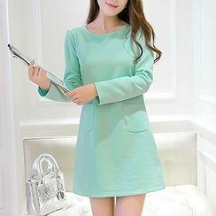 YUMU - Long-Sleeve Sheath Knit Dress