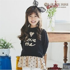 LILIPURRI - Girls Polka-Dot Mini Pullover Dress