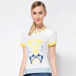 O.SA - Short-Sleeve Contrast-Cuff Printed Chiffon Top