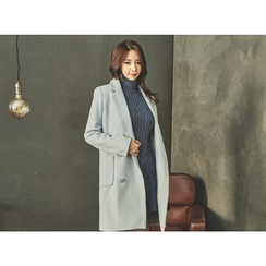 UUZONE - Double-Breasted Wool Blend Coat