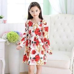 Youtale - Kids Floral Print Long-Sleeve A-Line Dress
