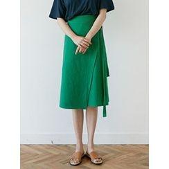 FROMBEGINNING - Tie-Waist Linen Blend Midi Skirt
