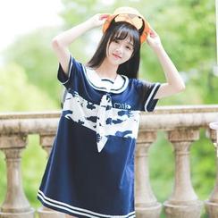 Moricode - Sailor Collar Short-Sleeve Dress