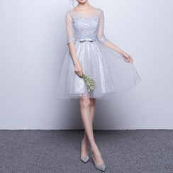 Luxury Style - Lace Appliqué Elbow-Sleeve Mini Prom Dress