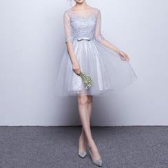 名貴風格 - 中袖蕾絲貼布繡禮服A字裙