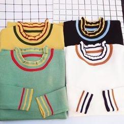 HL哈喽妹妹 - 荷叶领条纹长袖针织毛衣