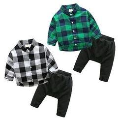 貝殼童裝 - 兒童套裝: 格紋襯衫 + 哈倫褲