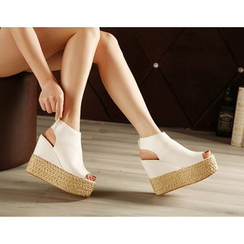 Monde - Peep Toe Platform Wedge Espadrille Sandals