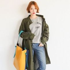 Seoul Fashion - Lettering-Sleeve Snap-Button Parka