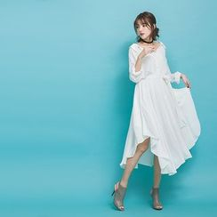 PUFII - Plain Chiffon Shirt Dress