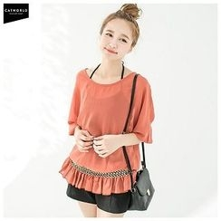 CatWorld - Elbow-Sleeve Elastic-Waist Chiffon Top
