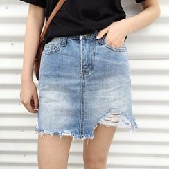 Mayflower - Distressed Denim Skirt