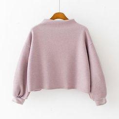Sunny Day - Plain Mock-neck Knit Top