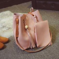 Diamante - Set of 2: Faux Leather Bucket Bag + Zip Pouch
