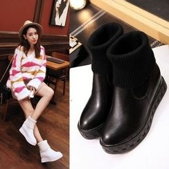 Shoes Galore - Knit Panel Hidden Wedge Short Boots
