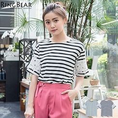 RingBear - Lace Sleeve  Striped Top