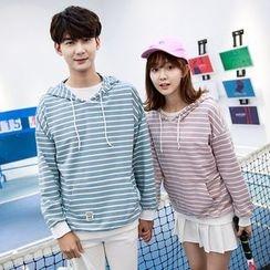 TOOI - Couple Matching Striped Hoodie