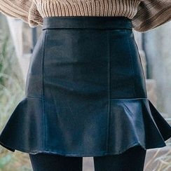 chuu - Ruffle-Hem Faux-Leather Mini Skirt