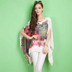 Hotprint - Short-Sleeve Oversized Chiffon Top