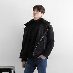 Seoul Homme - Faux-Fur Collar Faux-Suede Jacket