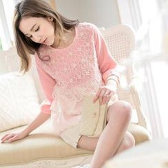 Tokyo Fashion - Lace-Panel Layered Blouse