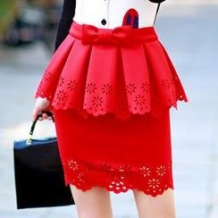 Dabuwawa - Bowed Peplum Perforated Skirt