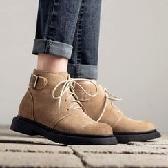 MIAOLV - Buckled Lace Up Ankle Boots