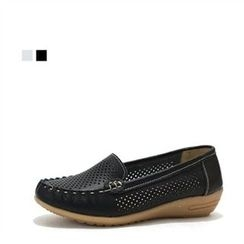 MODELSIS - Genuine Leather Perforated Loafers