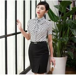 Aision - Dotted Shirt / Pencil Skirt